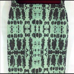 BCBG MAX AZRIA KELLY GREEN SCARLET INK-SKIRT